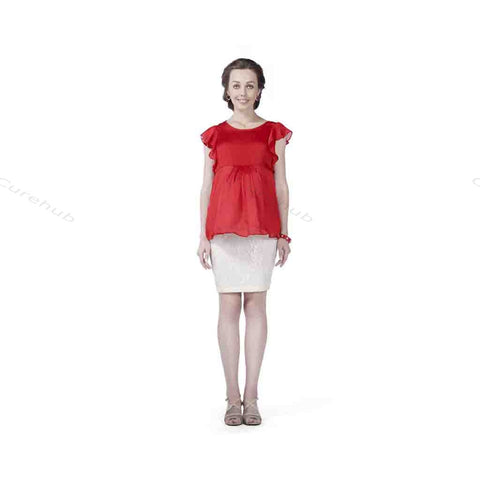 Radiation Safe Satin Georgette Top And Lace Skirt Red & White