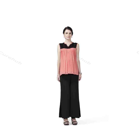 Radiation Safe Sleeveless Sequin Yoke Top And Solid Crepe Plazo Coral & Black