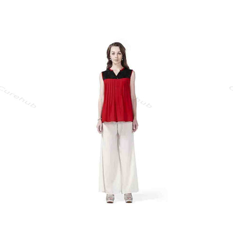 Radiation Safe Sleeveless Sequin Yoke Top And Solid Crepe Plazo Red & White
