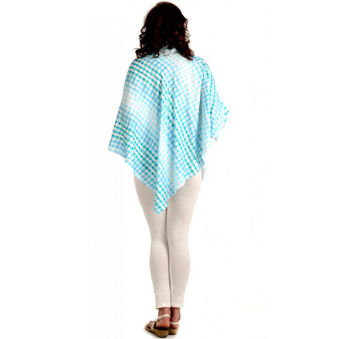 Radiation Safe-House of Napius-Checker poncho cowl neck tunic Blue Free Size