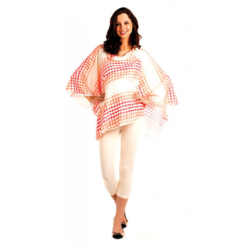 Radiation Safe-House of Napius-Checker poncho cowl neck tunic Red Free Size