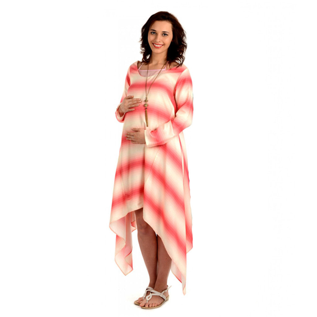 Radiation Safe-House of Napius- Long Dress With Assymmetrical Bottom Pink