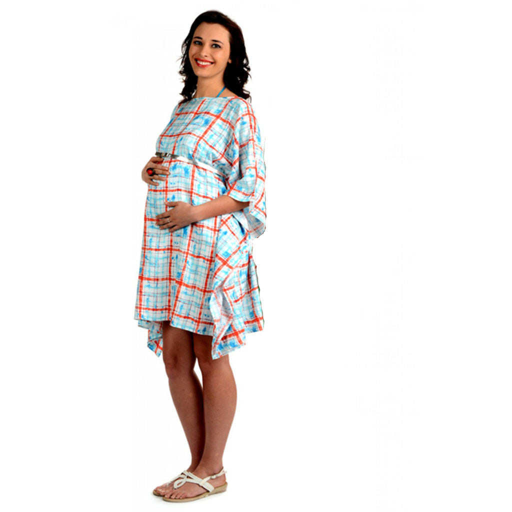 Radiation Safe-House of Napius Print Kafthan Dress with Splases of Colours Blue & Red Free Size