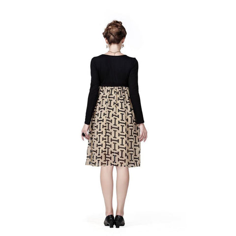 Radiation Safe-House of Napius Black & Beige - 'I' print dress