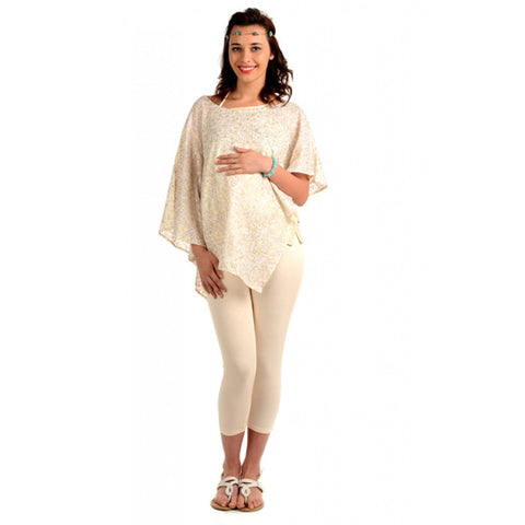 Radiation Safe-House Of Napius Maternity Freestyle Tunic With Inner - Off White And Gold Free Size