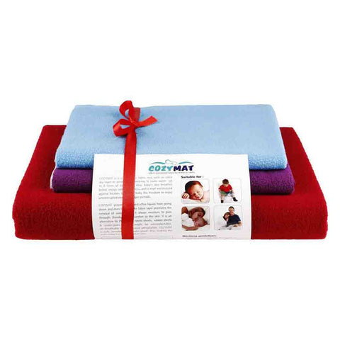 Newnik Reusable Absorbent Sheets/Underpads Combo(1 Large, 2 Small) Cr, Plum, Firoza