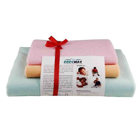 Newnik Reusable Absorbent Sheets/Underpads Combo(1 Large, 2 Small) Sg, Peach, Pink