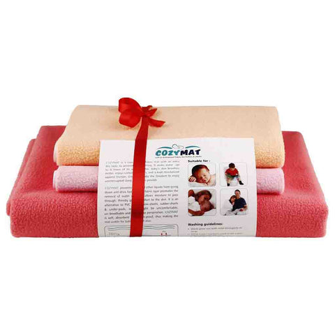 Newnik Reusable Absorbent Sheets/Underpads Combo(1 Large, 2 Small)Sr,Peach,Pink