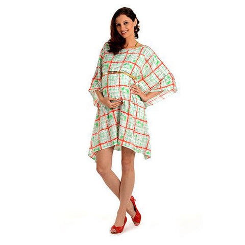 Radiation Safe-House of Napius Print Kafthan Dress with Splases of Colours Mini Green And Red Free Size
