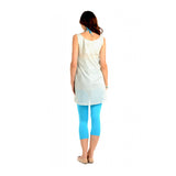 Radiation Safe-House of Napius Non-Printed Sleeveless Button Tunic with Pockets Mint+White