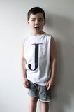 George Henry Little Kids White Monogrammed Tank