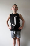 George Henry Big Kids Black Monogrammed Tank