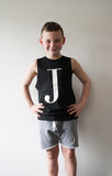 George Henry Little Kids Black Monogrammed Tank
