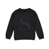 George Henry Big Kids Black With Black Monogrammed Letter Sweatshirt