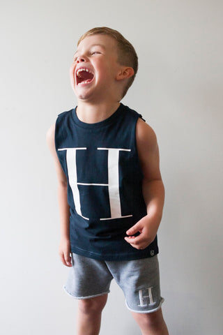 George Henry Little Kids Navy Monogrammed Tank