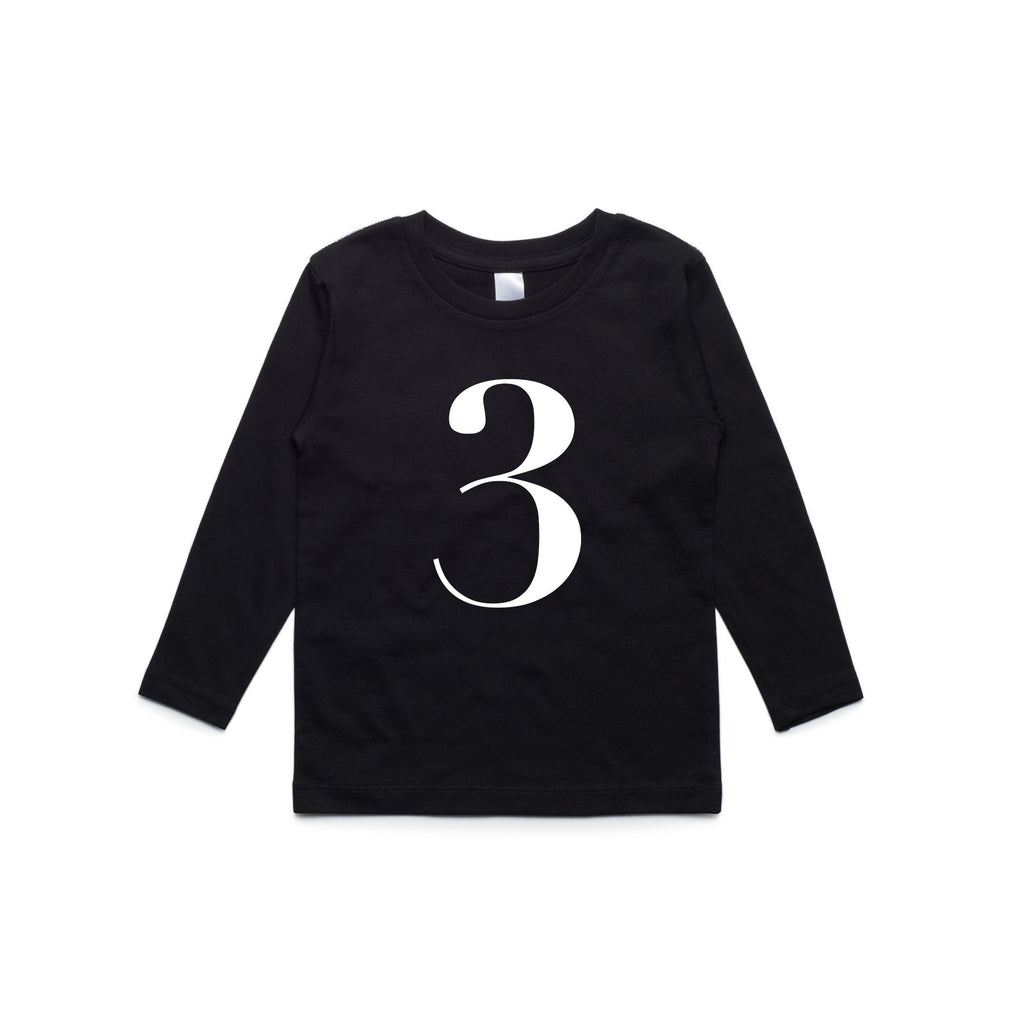 George Henry My Number 3 Black Long Sleeve Tee