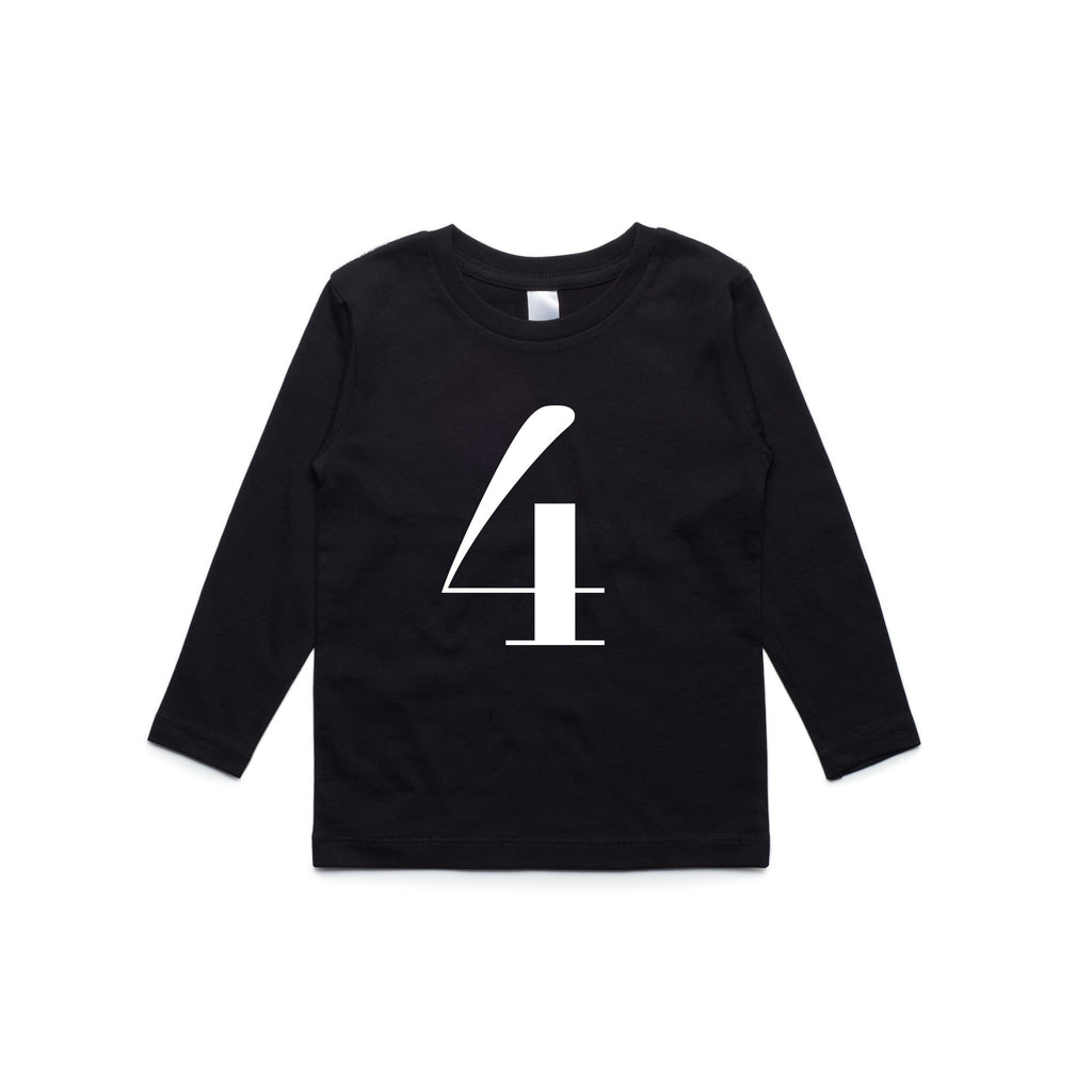George Henry My Number 4 Black Long Sleeve Tee