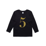 George Henry My Number 5 Black Long Sleeve Tee