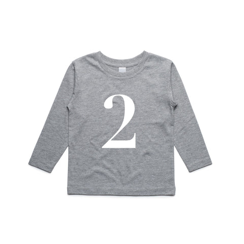 George Henry My Number 2 Grey Long Sleeve Tee
