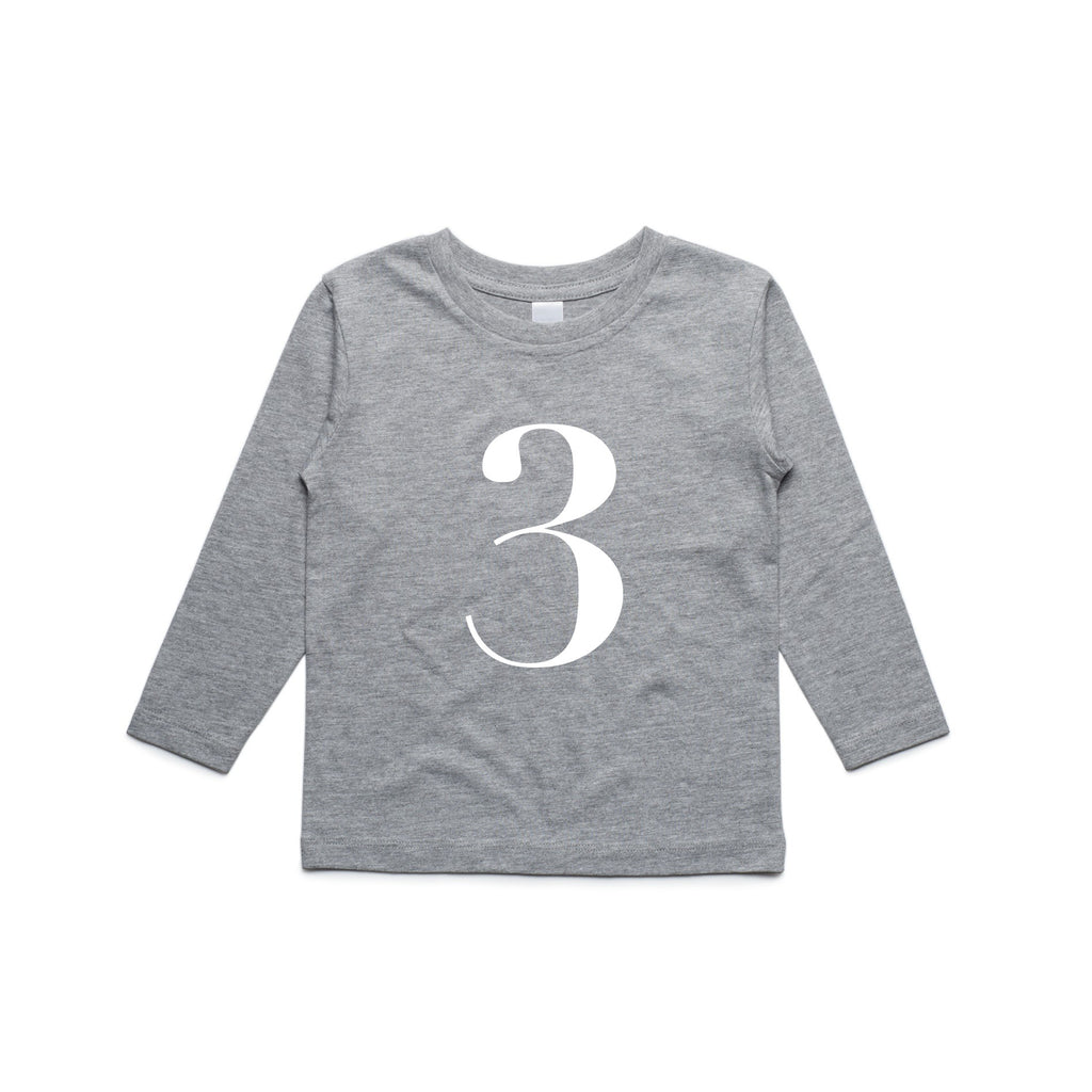 George Henry My Number 3 Grey Long Sleeve Tee