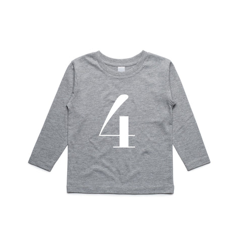 George Henry My Number 4 Grey Long Sleeve Tee