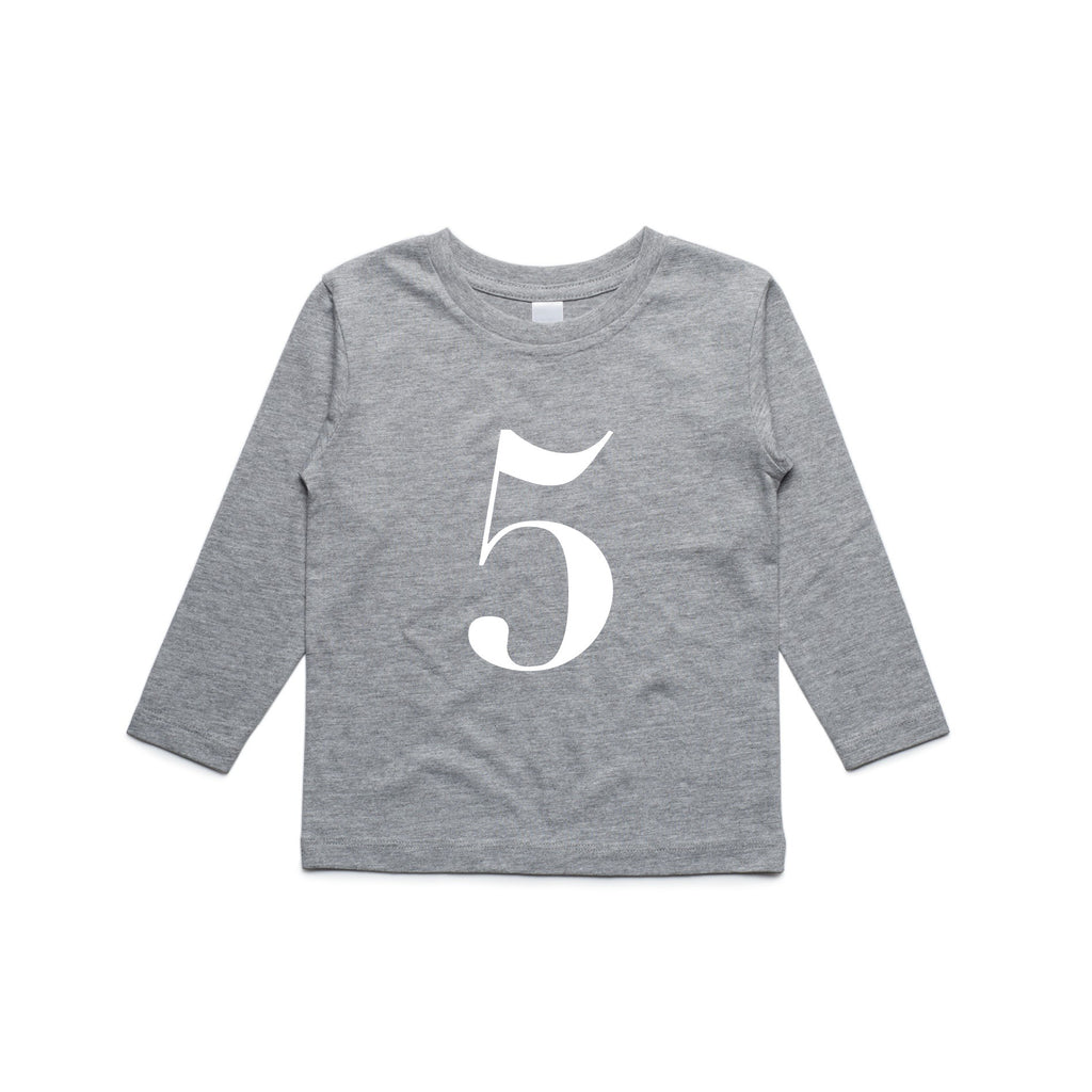 George Henry My Number 5 Grey Long Sleeve Tee