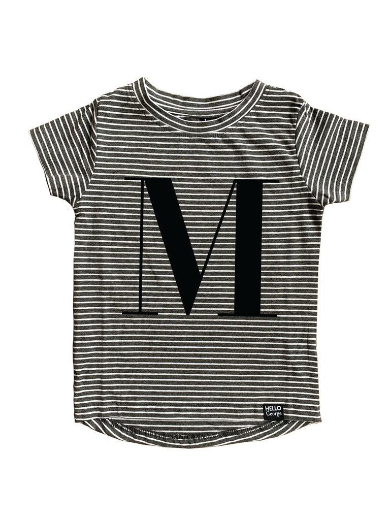 LETTER SCOOP TEE - Charcoal Stripe