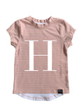 LETTER SCOOP TEE – Dusty Pink