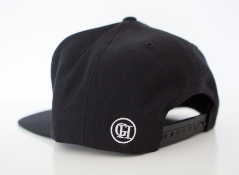 George Henry Youth Black Monogrammed Snapback Cap Gold Letter