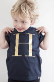 George Henry Little Kids Navy Monogrammed Tee