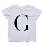 George Henry Big Kids White Monogrammed Tee