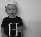 George Henry Little Kids Black Monogrammed Tee