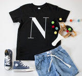George Henry Big Kids Black Monogrammed Tee