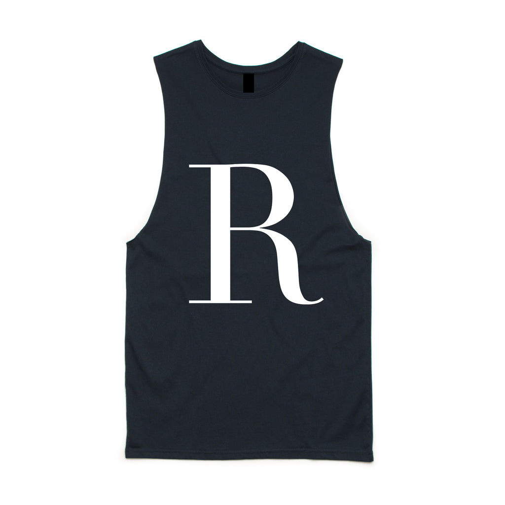 George Henry Big Kids Navy Monogrammed Tank