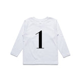George Henry My Number 1 White Long Sleeve Tee