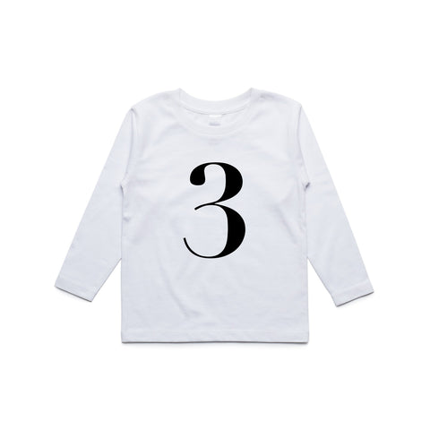 George Henry My Number 3 White Long Sleeve Tee