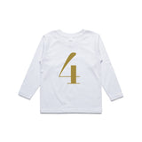 George Henry My Number 4 White Long Sleeve Tee