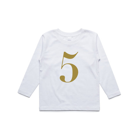George Henry My Number 5 White Long Sleeve Tee