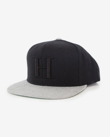 George Henry Adults Black/Grey Monogrammed Snapback Cap