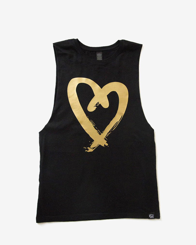 L♡VE Me Gold Heart Tank