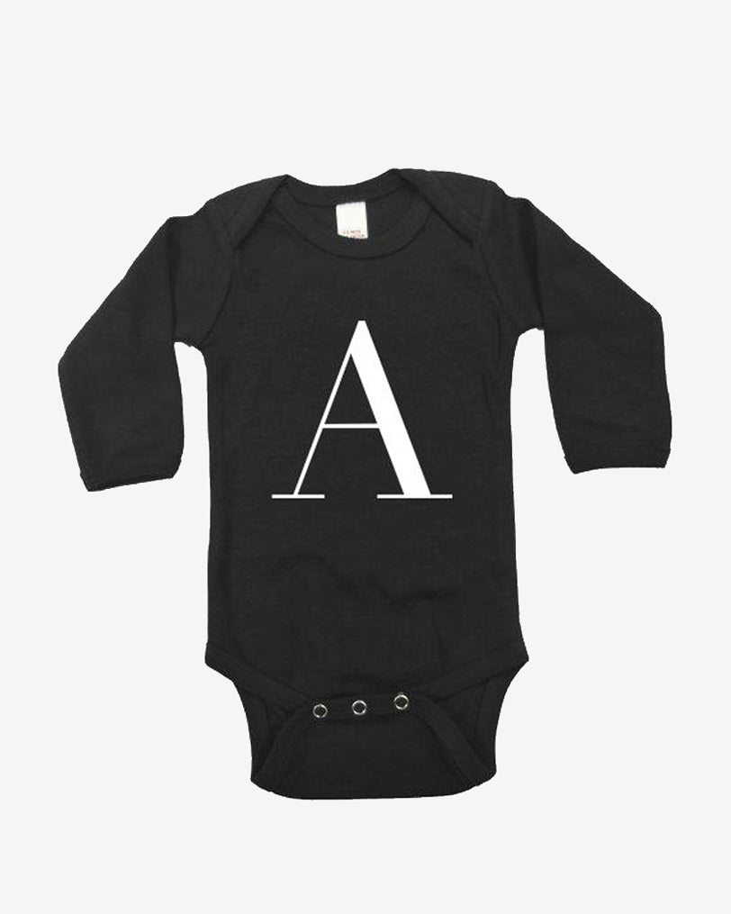 George Henry Long Sleeve Black Onesie