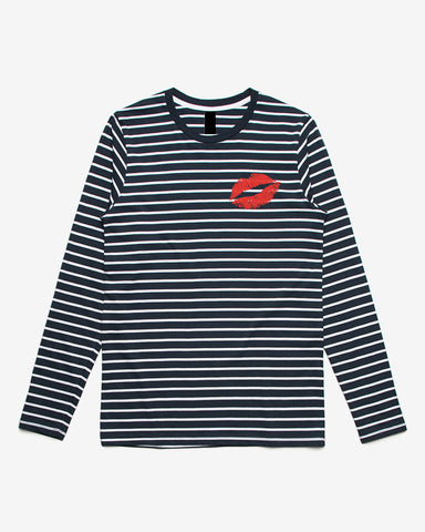 Kiss Me Navy Stripe Long Sleeve Tee