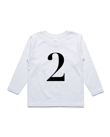 George Henry My Number 2 White Long Sleeve Tee