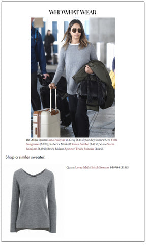 Jessica Alba in QUINN Luna Pullover on WhoWearWhat.com