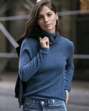 Cashmere Ribbed Turtle Neck