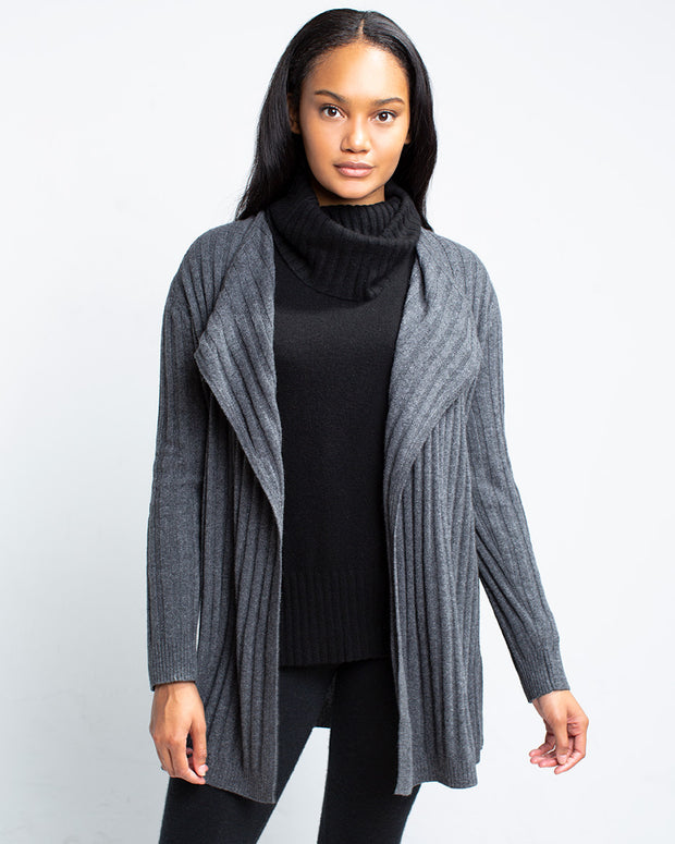 Maureen Cashmere Ribbed Cardigan