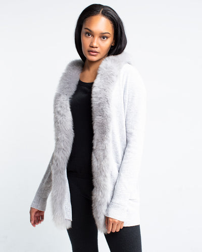 Vanderbilt Cashmere Fur Trim Coatigan