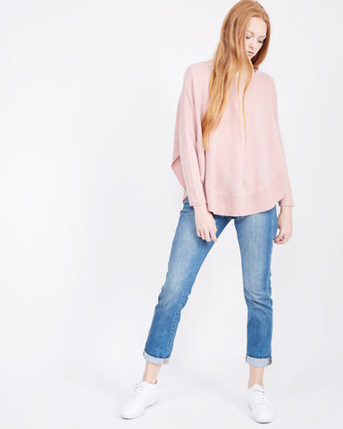 Cashmere Scoop Hem Sweater