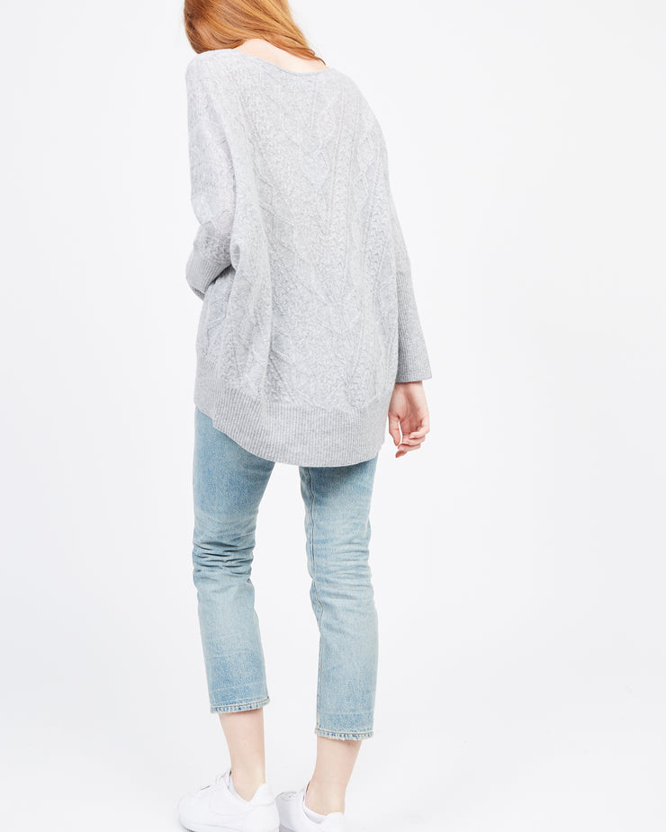 HiLow sweater grey cable stitch