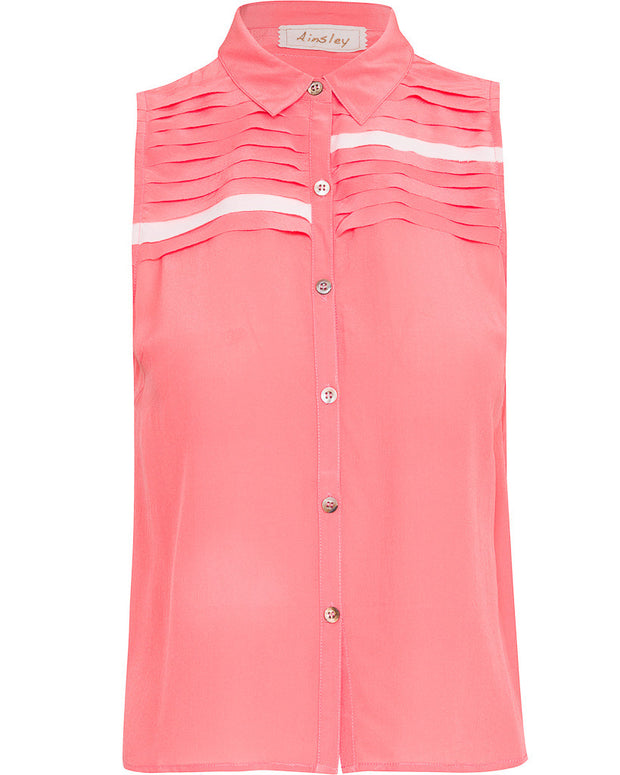 Alice-Silk Sleeveless Button Up